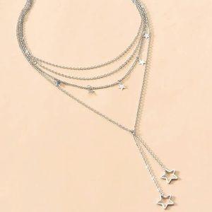 LAST! Multi layer silver star choker necklace
